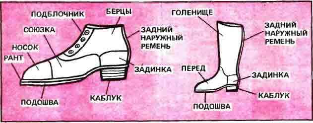 Рис.1. Детали обуви. Ботинок. Сапог.